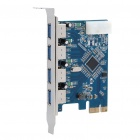4-Port USB 3.0 High Speed PCI-E Card for Desktop - Blue