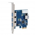 3 + 1 USB USB 3.0 High Speed PCI-E Card - Blue