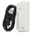 USB 2.0 Emergency Charger with Data Cable for Samsung Galaxy - White (2 x AA)