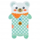 Cute Bear Style Protective TPU Back Case for Iphone 4 - White + Green