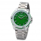 EYKI Water Resistant Stainless Quartz Movement Wrist Watch - Green + Silver (1 x LR626)