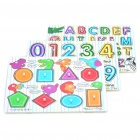 Letter / Numeral / Shape Learning Wooden Board Puzzles Set for Kids (3-Pack)