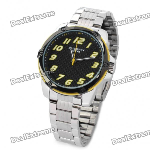 EYKI Stylish Stainless Steel Quartz Wrist Watch - Yellow + Black + Silver (1 x LR626) fashion stainless steel red yellow led water resistant wrist watch black 2 x cr2016
