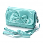 Stylish PU Leather Bowknot Cosmetic Bag - Green