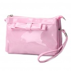 Stylish PU Leather Dual Compartments Cosmetic Bag - Pink