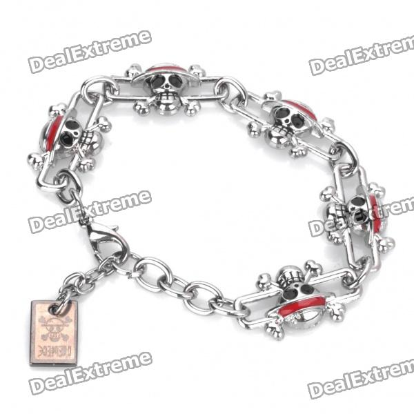 One Piece Pirate Skull Style Cosplay Metal Bracelet Wristband 2015 2 piece d3539