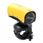 5.0MP Waterproof Wide Angle Sports / Car Camcorder w/ 2-LED / Red Laser / HDMI / TF - Yellow