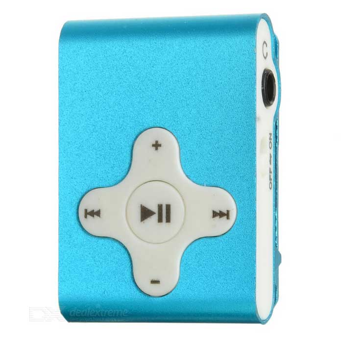 Rechargeable Clip-On Screen Free MP3 Player w/ TF Slot / 3.5mm Jack - Blue