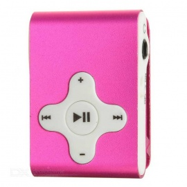 Rechargeable Clip-On Screen Free MP3 Player w/ TF Slot / 3.5mm Jack - Deep Pink