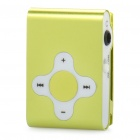 Rechargeable Clip-On Screen Free MP3 Player w/ TF Slot / 3.5mm Jack - Green