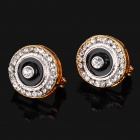 Copper Alloy Material Ear Earrings - Gold + Black + Silver (Pair)