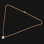 Fashion Copper Alloy Blue Crystal Necklace - Golden (45.5CM-Length)