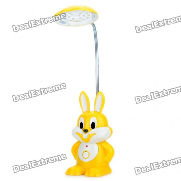 Cartoon Rabbit Style Rechargeable 2-Mode 18-LED White Light Flexible Neck Desk Lamp - Yellow + White