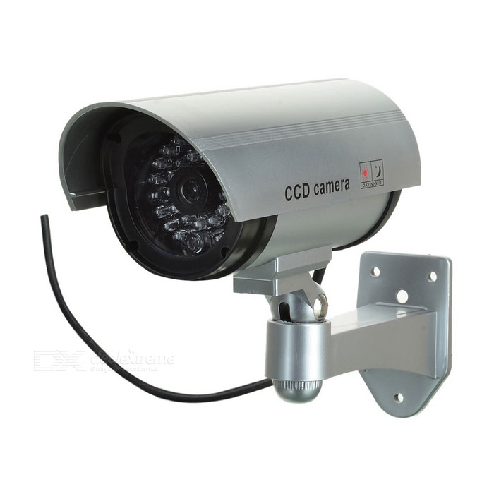 Realistic Dummy Surveillance Security Camera w/ Blinking Red LED Light - Silver (2 x AA)