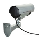 Realistic Dummy Surveillance Security Camera w/ Red LED - Silver