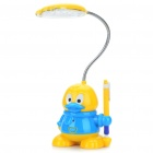 Duck Style Rechargeable Flexible 2-Mode White 19-LED Desk Light Table Lamp (Yellow + Blue)