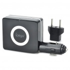 Car Cigarette Powered Charger with USB Output / US Plug / Detachable EU Plug for iPhone/iPad (Black)