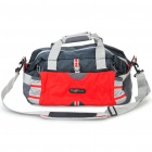Durable Nylon Travel Luggage Bag - Red + Grey