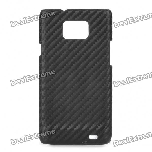 Protective Carbon Fiber PC Back Case for Samsung Galaxy i9100 - Black checked pattern protective pc back case for samsung i9100 brown