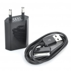 USB Power Adapter w/ USB Data / Charging Cable for iPhone 3GS / 4 - Black (AC 100~240V / EU Plug)