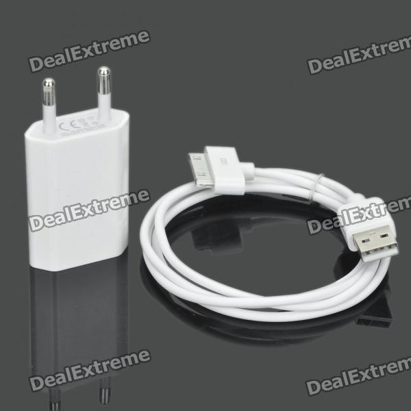 USB Power Adapter w / USB Data / Ladekabel für iPhone 3GS / 4 - White (AC 100-240V / EU Stecker)