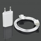 USB Power Adapter w/ USB Data / Charging Cable for Iphone 3gs / 4 - White (AC 100~240V / EU Plug)