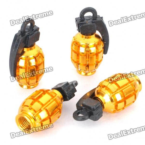 Cool Grenade Shaped Motorcycle/Car Tire Valve Dust Cap Cover - Gold (4-Piece Pack) от DX.com INT