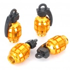 Cool Grenade Shaped Motorcycle/Car Tire Valve Dust Cap Cover - Gold (4-Piece Pack)