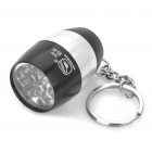 Camping Mini Ultra Bright 8-LED 20LM White Light Flashlight w/ Keychain - Black + Silver (2xCR2032)