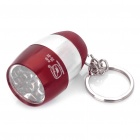 Camping Mini Ultra Bright 8-LED 20LM White Light Flashlight w/ Keychain - Red + Silver (2 x CR2032)