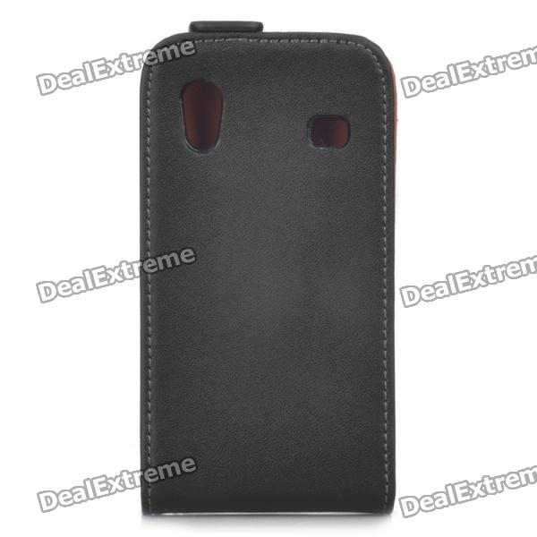 Protective Leather Case Pouch for Samsung Galaxy Ace/S5830 - Black protective nylon holster pouch with clip for cell phone red black size s