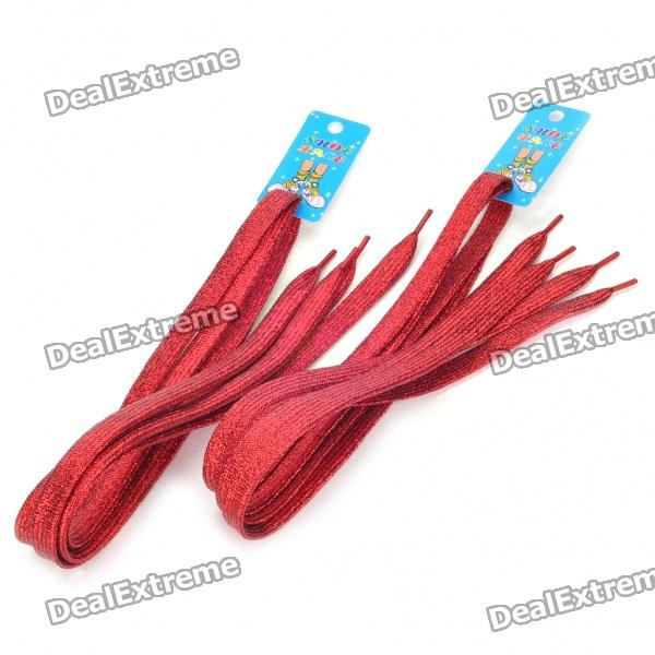 Glittering Flat Shoelaces - Red (2-Pair Pack)
