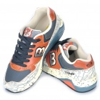 Retro Pattern PU Leather Jogging Shoes - Beige + Brown + Dark Grey (EUR Size-39)