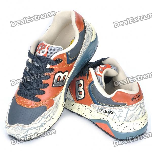Retro Style PU Leather Jogging Shoes - Beige + Brown + Dark Grey (EUR Size-43)