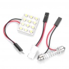 2.4W 3500K 288-Lumen 12-LED Warm White Light Car Bulb w/ Connectors (DC 12V)