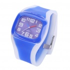 Sports Silicone Band Quartz Wrist Watch - Transparent + Blue (1 x 377)
