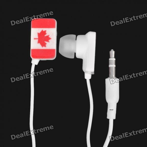 Canada National Flag Pattern In-Ear Earphone - White + Red (3.5mm-Jack / 107cm-Cable Length)