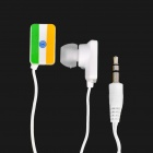 India National Flag Pattern In-Ear Earphone - Cyan + Yellow + White (3.5mm-Jack / 100cm-Cable)