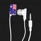 Australia National Flag Pattern In-Ear Earphone - Blue + White + Red (3.5mm-Jack / 105cm-Cable)