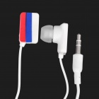 Russia National Flag Pattern In-Ear Earphone - Red + Blue + White (3.5mm-Jack / 104cm-Cable Length)