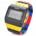"1.3"" LED Silicone Toy Blocks Band Digital Wrist Watch - Black + Yellow + Blue + Red (1 x CR2032)"