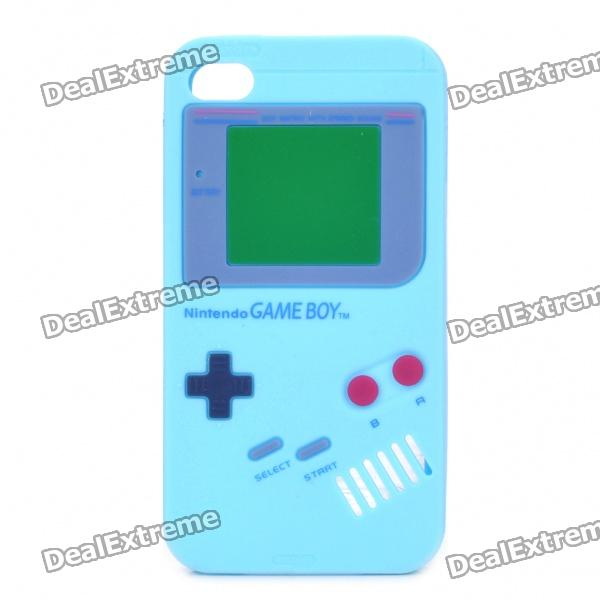 Game Boy Style Protective Silicone Case for iPhone 4 - Sky Blue