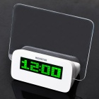 "3.0"" LCD Digital Alarm Clock w/ Message Board / Calendar / Thermometer - White (3 x AAA)"
