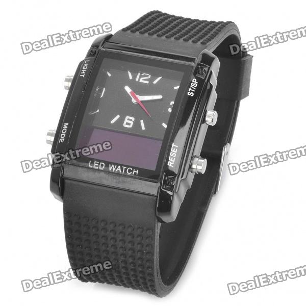 Silicone Band Quartz Analog Digital Wrist Watch - Black (1 x 377) hoska hd030b children quartz digital watch