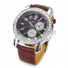 Elegant Leather Band Rhinestone Quartz Wrist Watch - Brown + Silver (1 x 377)