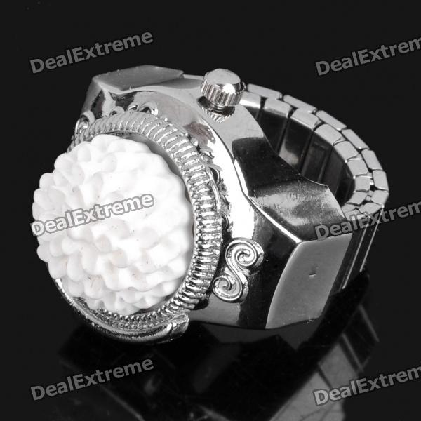 Fashion Finger Ring Watch - White + Silver (1 x 377)