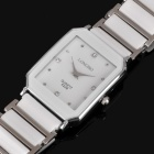 Elegant Ceramic Quartz Wrist Watch for Men - White + Silver (1 x 377)
