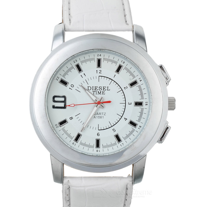 Stylish PU Band Quartz Wrist Watch - White + Silver (1 x 377) stylish bracelet band quartz wrist watch golden silver 1 x 377