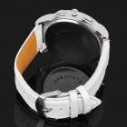 Stylish PU Band Quartz Wrist Watch - White + Silver (1 x 377)