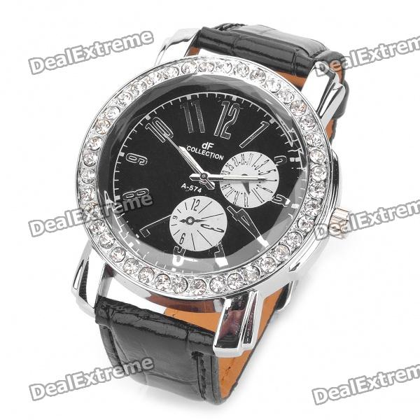 Elegant Leather Band Rhinestone Quartz Wrist Watch - Black + Silver (1 x 377)